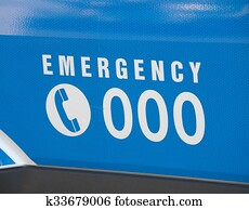Emergency number 000 on an ambulance