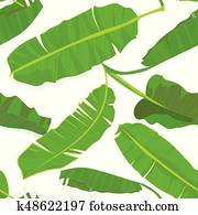 Seamless hand drawn tropical pattern with palm banana leaves, jungle exotic leaf on white background