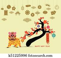 oriental happy chinese new year 2018 blossom lion dance chinese baclground