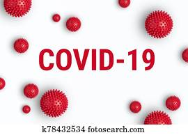 Inscription COVID-19 on white background with red strain model of coronavirus