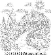 Zentangle stylized countryside scene