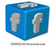 3D Render FACEBOOK LOGO represented as a blue cube with a white letter F - White background Concept image