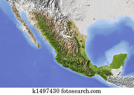 Mexico, shaded relief map