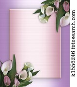 Calla Lilies pink Border on satin