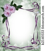 Lavender Roses Wedding Invitation border