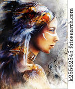 beautiful painting of native american indian woman with eagle, o