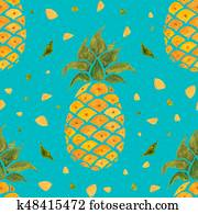 Pineapple background. Watercolor Seamless pattern.