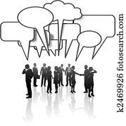 Communication Network Media Business People Team Talk