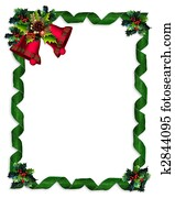 Christmas border Holly, bells, and ribbons