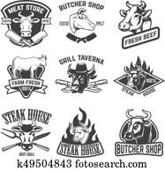 set of beef meat, steak house emblems. Design elements for logo,