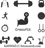 Vector Set of Crossfit Icons. Sport, fitness, gym workout