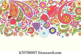 Floral seamless ethnic border with colorful abstract flowers, pomegranate and paisley for textile design on white background