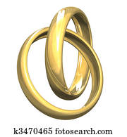 isolated wedding rings in gold