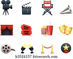 Film and movies industry icon collection