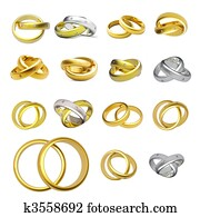 Collection of gold wedding rings