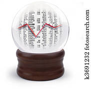 Crystal ball with stock market