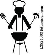 illustration of a chef making bbq -1