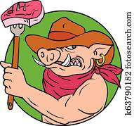 Cowboy Hog Holding Barbecue Steak Drawing Color