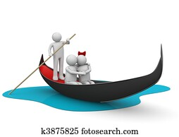 Gondolier and romantic couple in gondola - Workers / Lifestyle c