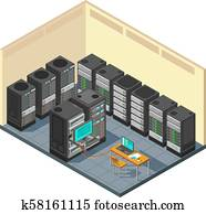 Isometric network server room with row of computer equipments