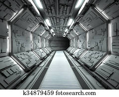 Futuristic spaceship interior