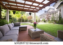 Verandah with modern garden furniture