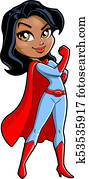 African American Black Super Mom cartoon clipart