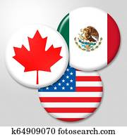 Trump Nafta Badges - Negotiation Deal With Canada And Mexico - 3d Illustration