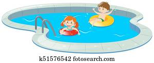 Two kids in swimming pool