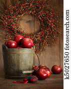 Wood bucket of apples for the holidays