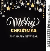merry christmas hand written lettering gold and silver glitter border garland with hanging balls