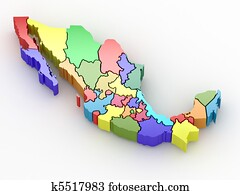 Three-dimensional map of Mexico
