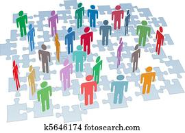 Human resources group connection puzzle pieces network