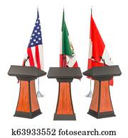 United States - Mexico - Canada Agreement, USMCA or NAFTA meeting concept. 3D rendering