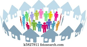 Social neighbor people meet in home ring
