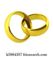 3d render of two golden wedding rings