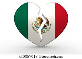Broken white heart shape with Mexico flag
