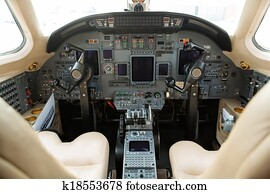 Inside of homemade flight simulator cockpit Stock Image | k23609310