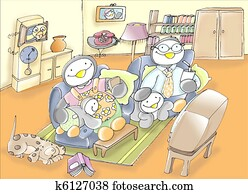 family of penguins in the room