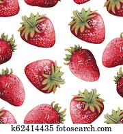 Seamless pattern of bright yand painted watercolor strawberries