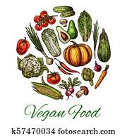 Vegetable and mushroom poster of vegan food design