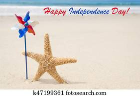 Happy Independence day USA background with starfish