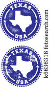 texas, usa, briefmarken