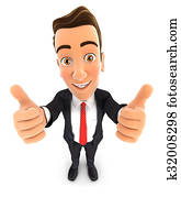 3d businessman thumbs up