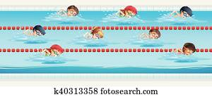 Children swimming in the swimming pool