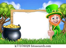 St Patricks Day Leprechaun Sign Cartoon Scene