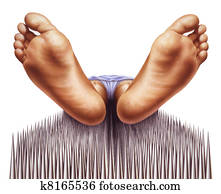 bed of nails with fakir viewed from