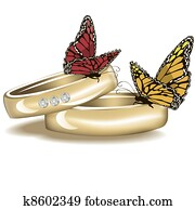 Wedding rings with butterflies