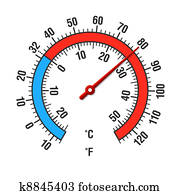 Clipart Of Thermometer Vector Celsius And Fahrenheit K10197124