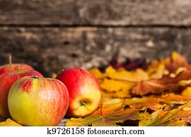 Autumn border from apples and maple leaves